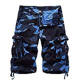 AYG- Pantalones cortos cargo de camuflaje para hombre, tallas 29-40 (tallaje de vaqueros, no todas las tallas tienen un equivalente en el tallaje europeo estándar). , hombre, dark blue camo, XL