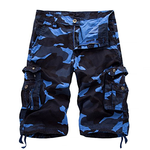 AYG Bermudas Camuflaje Hombre Cargo Shorts(Dark Blue Camo,36)