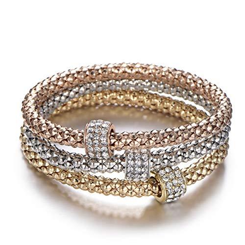 Bracciale elastico 3 pezzi per donna, bracciale catena popcorn con pendente ciondolo Bracciale in argento oro rosa bracciale per amico regalo (3 pezzi/set) (#4 Ciondolo perlina, Mescola colori)