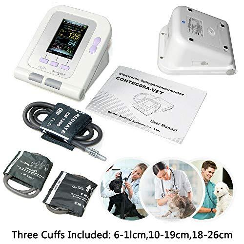 D&F Blutdruckmessgerät für Tiere Elektronisches Digitales Veterinär Sphygmomanometer Pulsmessung NIBP Manschette und großer LCD-Farbbildschirm für Hund Katze Haustiere