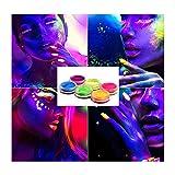N\ A Glowing Fluorescent Bod Nail Powder Pigmento Fosforescente Neon Night Body Painting Niños y Adultos Kit de Maquillaje de Halloween 2.5×1.5 cm × 6 piezas