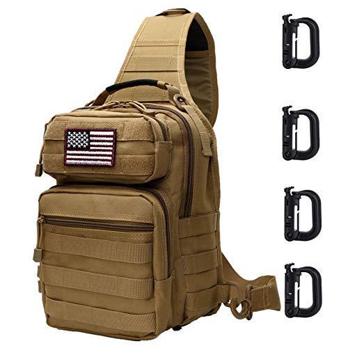 Neasyth Tactical Sling Bag Backpack Shoulder Chest Bag Outdoor Travel Hiking for Men (Tan with D-Ring Clips)
