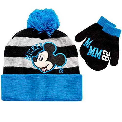 Disney Boys' Mickey Mouse, Car Lightning McQueen Winter Hat & Mittens or Gloves Set (Toddler/Little Boys) Blue/Black Mickey Mittens, Age 2T-4T
