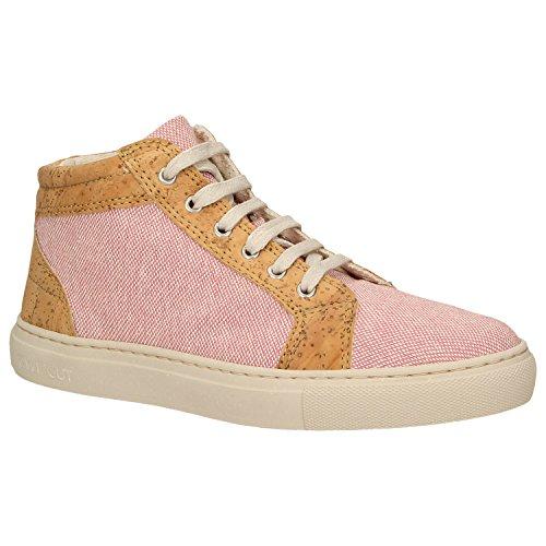 Zweigut® -Hamburg- echt #403 Damen High-Top Kork Sneaker vegan Schuhe mit Canvas und recycelter Sohle, Schuhgröße:37, Farbe:rosa-Kork