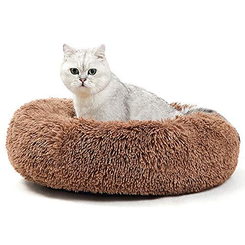 ANWA - Letto rotondo per gatti da interni, lavabile e riscaldante, letto per cani di piccola taglia