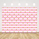 Sensfun Photography Backdrops Pink and White Stripes Gold Polka Dots Princess Baby Shower Girl Birthday Party Decoration Banner Newborn Photo Studio Booth Background 7x5ft