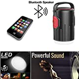 Mini USB Bluetooth Speaker With Rechargeable LED Lantern Flashlight and Power Bank - 3in1 Camping Lantern Speaker, Portable Charger For Hiking, Camping, Emergencies, Hurricanes, Outages(RED)