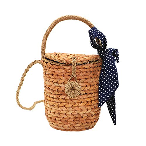 Qinlee Stroh Umhängetasche Strandtasche für Damen großer Handtasche Marktkorb Strandkorb Korb Einkaufstasche Tasche Einkaufskorb Bambus Handtasche