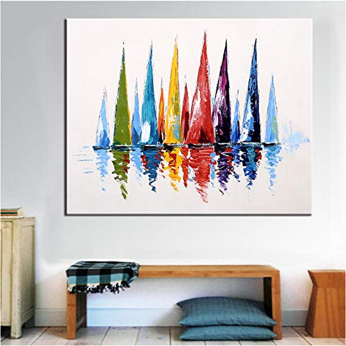 NR Malerei Segelboot gemalt Moderne abstrakte Bunte Wand dekorative Leinwand Kunst Bilder für Wohnzimmer Home Decor (80 x 80 cm kein Rahmen)