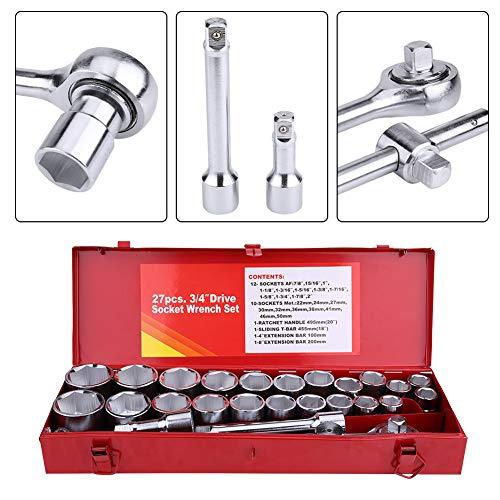 Juego de llaves de vaso de coche, 3/4pulgadas Drive Metric & Imperial Wrench Set Juego de llaves de vaso para caravana camión coche