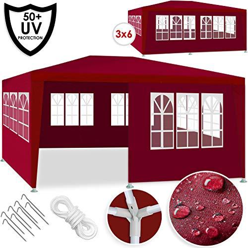 Kesser® Festzelt 3x6m | Pavillon | mit 6 aufrollbare Seitenwände | Gartenzelt | Partyzelt | wasserabweisend wasserdicht | UV-Schutz 50 + | Ideal für Garten, Terrasse, Party, Veranstaltung | Rot