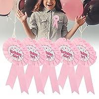 リボンロゼットバッジ、誕生日パーティー用の装飾的なロゼットリボン(pink)