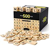Magicfly 500Pcs Scrabble Tiles, Wood Craft Scrabble Letters Word Tiles, A-Z for Wood Gift Decoration & Scrabble Crossword Game
