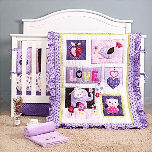 Purple 3D Elephant 8 Piece Nursery Crib Set Girl Baby Bedding Sets for Standard Size