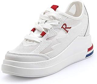 AONEGOLD Baskets Mode Compensées Montante Sneakers Tennis Chaussures Casuel Femme Respirants Lacets Sneakers Talon Compensé
