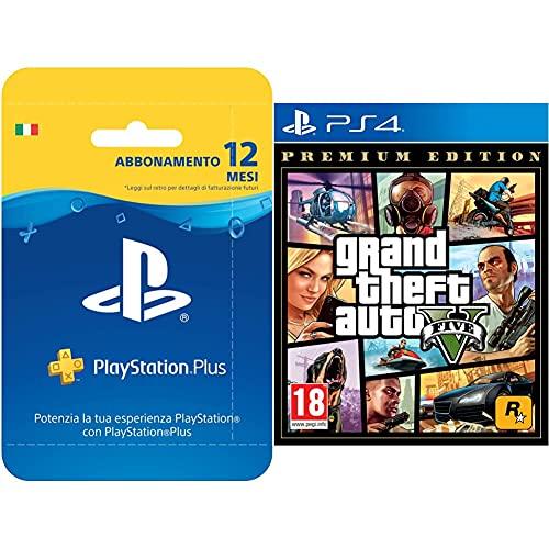 Playstation Plus Card Hang Abbonamento 12 Mesi & Grand Theft Auto V - Premium Edition - Playstation 4 [Edizione It]