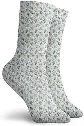 Yesbnow Ivory and Blue Patterned Socks Unisex Men