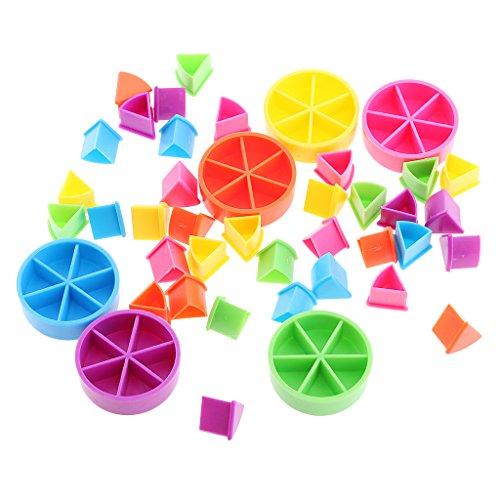 Sharplace 42pcs Paquete de Búsqueda Trivial Pedazos de Pastel para Fracciones de Matemáticas Coloridos