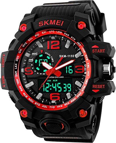 SKMEI MS BL1155 Digital Analogue Black Dial Silicon Rubber Band Men's Wrist Watch