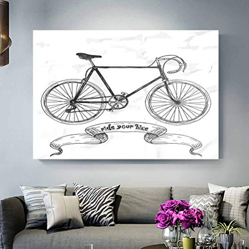 ScottDecor Christmas Wall Decorations Indoor Bicycle,Ride Your Bike Lettering with Nostalgic Mountain Bike Hand Drawn Sketchy,Charcoal Grey White dad Gifts for Christmas L16 x H24 Inch