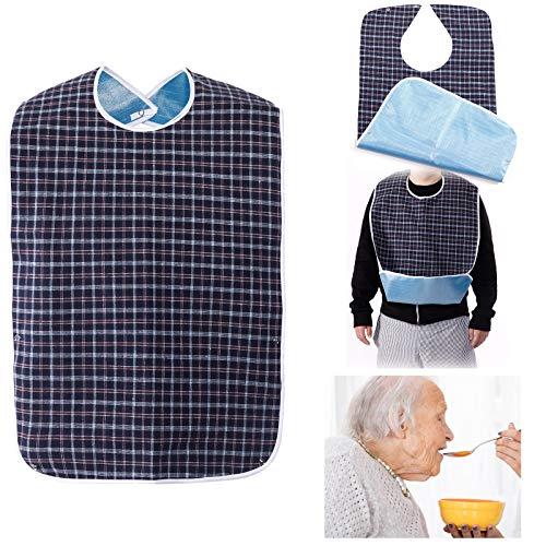 Erwachsenen Lätzchen für Senioren doppelte Schicht wasserdicht mit Displayschutzfolie wiederverwendbar Kleidungsschutz Lätzchen Schürze für ältere Männer Frauen