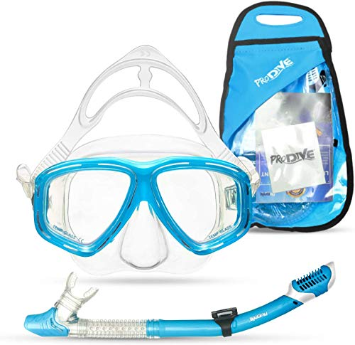 PRODIVE Premium Dry Top Snorkel Set - Impact Resistant Tempered Glass Diving Mask, Watertight and Anti-Fog Lens for Best Vision, Easy Adjustable Strap, Waterproof Gear Bag Included (Aqua)