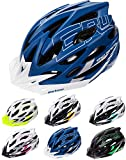 meteor Cascos Casco Bicicleta Casco Helmet Casco Bici Casco Bicicleta Adulto Skate Ciclismo Bicicleta Patineta Patines Monopatines Bici Accesorios Casco Gruver (L (58-61 cm), Azul/Blanco)