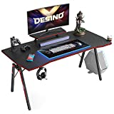 DESINO Gaming Desk 47 inch PC Computer Desk, Home Office Desk Table Gamer Workstation with Cup Holder and Headphone Hook, Black