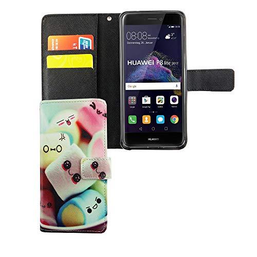 König Design Handyhülle Kompatibel mit Huawei P8 Lite 2017 Handytasche Schutzhülle Tasche Flip Case mit Kreditkartenfächern - Marshmallows