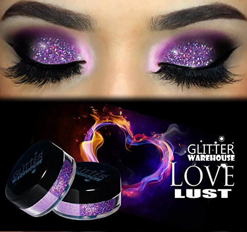 Love Lust GlitterWarehouse Lavender Holographic Loose Glitter Powder Great for Eyeshadow/Eye Shadow, Makeup, Body Tattoo, Nail Art and More!