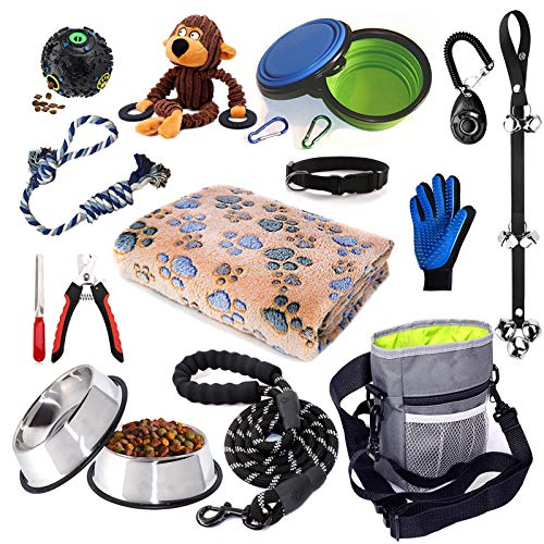 Puppy Starter Kit,15 Piece Dog Supplies Assortments,Set Includes:Dog Toys | Dog Essentials | Puppy Training Supplies | Dog Grooming Tool | Dog Leashes Accessories | Feeding & Watering Supplies