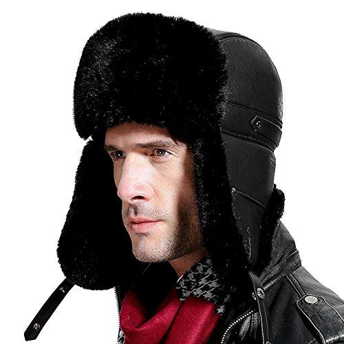 Roffatide Roffatide Herren Faux Nerz Flieger Ushanka Trapper Hut Ohrenklappen Kinnriemen Russische Bombermütze