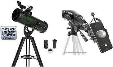 Celestron ExploraScope 22103 114AZ Reflector Telescope with Celestron 81035 Basic Smartphone Adapter 1.25