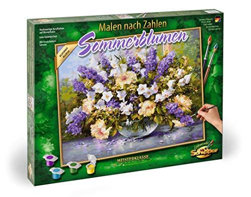 Schipper 609130717 - Malen nach Zahlen - Sommerblumen - Bilder malen für Erwachsene, inklusive Pinsel und Acrylfarben, 40 x 50 cm
