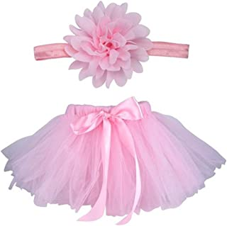 Baby Photography Prop Infant Tutu Skirt, Ifergo Newborn Costume Bow-Knot Dress Outfits with Headband, Baby Photo Prop, Crochet Baby Clothes (Pink Skirt for Newborn Baby)