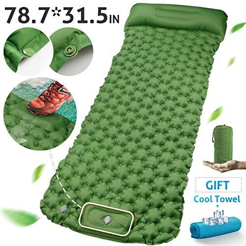 RioRand Aufblasbare Isomatte Breite 31,5 Zoll,Camping Matratze mit Kissen und Schnallendsign Leichte Schlafmatte,Hand oder Fuß Drücken Sie Inflating für Outdoor Camping Reisen und Wandern (grün)