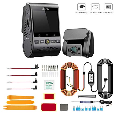 VIOFO A129 Duo Bundle with Low Light Vision | 2 Channel 1080P Front and Rear Dash Camera for Cars | WiFi GPS Mount | 3-Wire Hardwiring Kit and Installation Kit Included