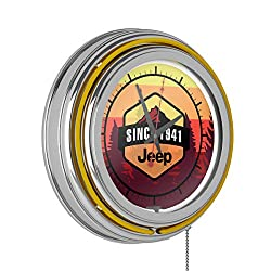 Trademark Global Neon Wall Clock-Jeep Sunset Mountain Double Rung Analog Clock with Pull Chain-Pub, Garage, or Man Cave Accessories (Yellow)
