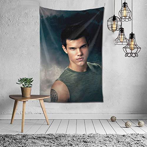 Taylor Daniel Lautner Tapiz Jacob negro The-Twilight-Saga manta para colgar en la pared, arte de pared, decoración del dormitorio, tapiz de 45,72 x 45,72 cm