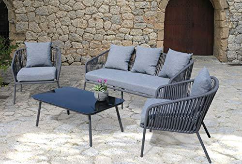 GRASEKAMP Qualität seit 1972 Lounge Sitzgruppe 4 teilig mit dicken Kissen Grau Coffee Set Arezzo Aluminium Loungeset Garten Sitzgruppe Loungemöbel - 7