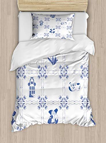 ABAKUHAUS Vintage Blue Dekbedovertrekset, nederlandse Cultuur, Decoratieve 2-delige Bedset met 1 siersloop, 130 cm x 200 cm, Violet Blue and White