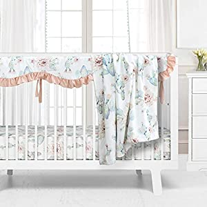 crib bedding and baby bedding sahaler succulents baby crib bedding set for boy girl, watercolor cactus nursery fitted sheets crib rail covers fleece plush blanket 3 pieces set (watercolor cactus)