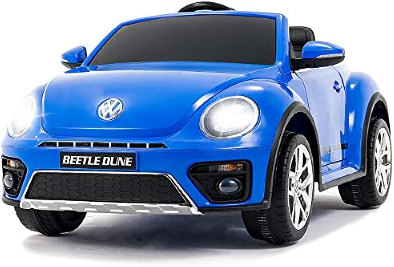 UEnjoy kompatibel mit Volkswagen Kfer Kinderauto 12V Kinderfahrzeug Elektro VW Beetle Double-Drive Auto für Kinder mit Fernbedienung,Musik,LED-Leuchten, Doppeltür, Blau
