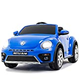 Uenjoy Volkswagen Beetle 12V Kids Electric Ride on Cars Battery Powered Motorized Vehicles, Remote Control, Music, Bluetooth, Suspension, DoubleDoor, Blue