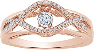 AFFY White Natural Diamond Dancing Fashion Ring in 10K Solid Gold (0.12 Ct)