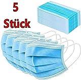 5 Stück Mundschutz Mundmaske Maske Schutzmaske mit Gummiband 3 lagig