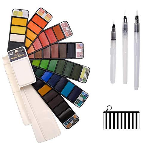 ZITFRI Juego de Pintura de Acuarela, Acuarelas Kit Profedionales 42 Colores con Caja Acuarela Pastillas Acuarelas Portatíl para los Artículos de Arte