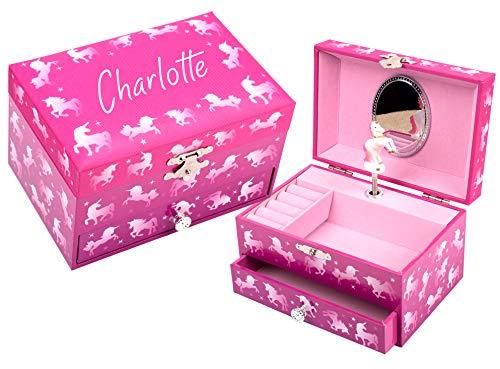 Fringoo Joyero personalizado con diseño de unicornio degradado, bonito color rosa, caja de joyería musical con el sonido clásico del lago de los cisnes, incluye unicornio giratorio y espejo