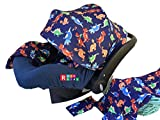 9pc Baby Boy Baby Girl Ultimate Set of Infant Car Seat Cover Canopy Headrest Blanket Hat Nursing Scarf, 25JE11