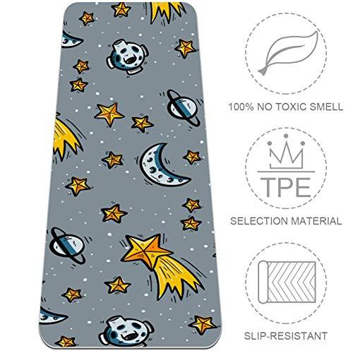 Shiiny Meteor And Planet Tapis de yoga haute densité 6 mm d'épaisseur – Tapis de yoga polyvalent, durable et confortable avec sac de tapis de yoga, 72 x 24 cm, tapis pour yoga, pilates et fitness